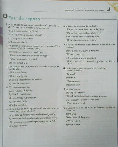 Test y ejercicios Tema 4