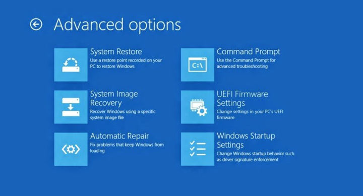 Opciones de arranque en Windows 10